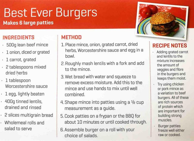 Life Education Queensland Healthy Harold Best Ever Burger Recipe Card