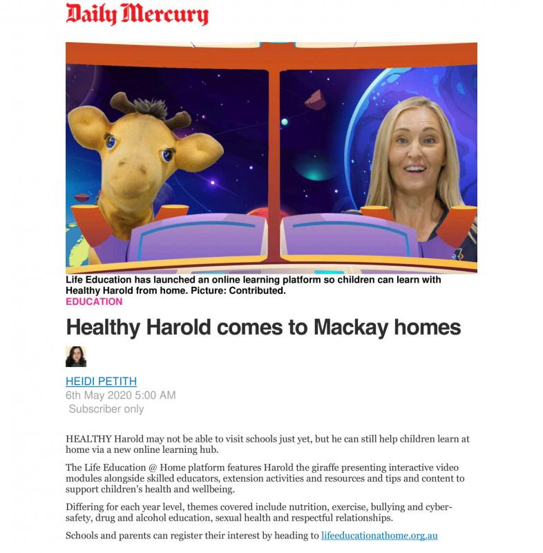Life Education Queensland Healthy Harold Daily Mercury Life Education At Home