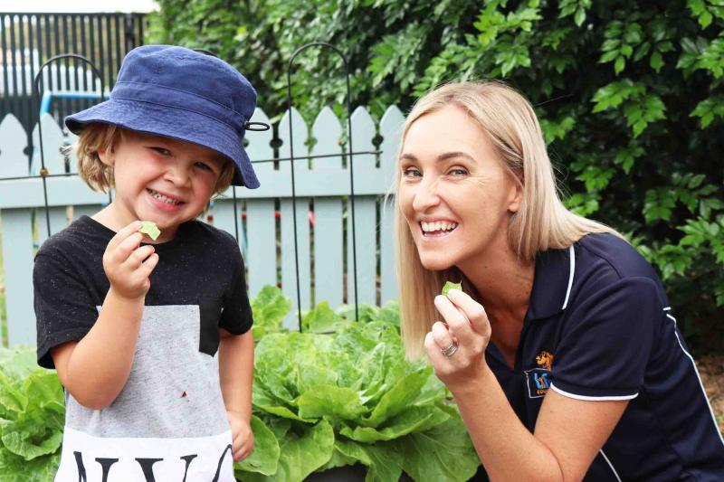 Life Education Queensland Healthy Harold Early Learning Centre Nutrition Educator And Child In Garden