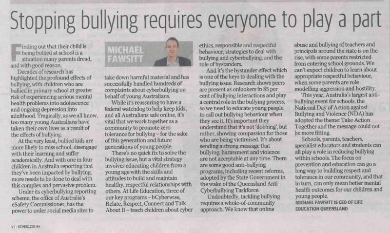 Life Education Queensland Healthy Harold Michael Fawsitt Bullying Courier Mail March 2020