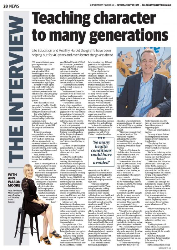 Life Education Queensland Healthy Harold Online Learning Gold Coast Bulletin 16 May 2020