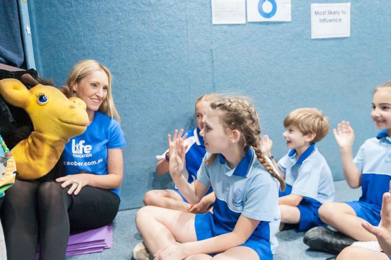 Life Education Queensland Healthy Harold Van Educator With Harold And Children