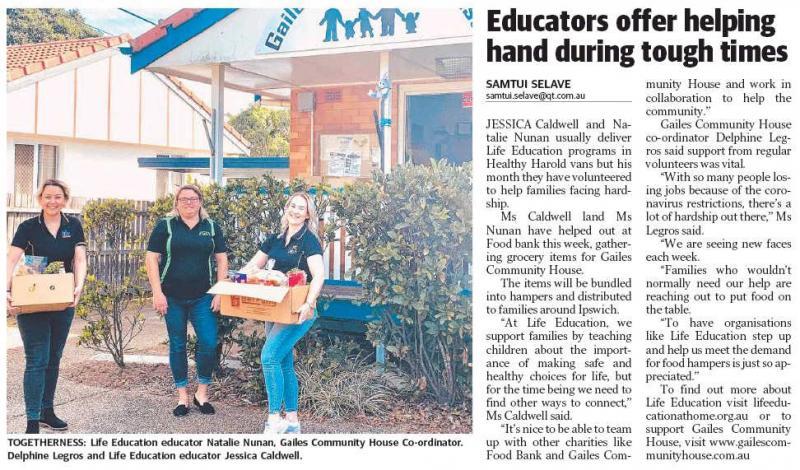 Lifeeducation Queensland Coronavirus Covid 19 Community Spirit Ipswich Qt Educators Offer Helping Hand During Tough Times
