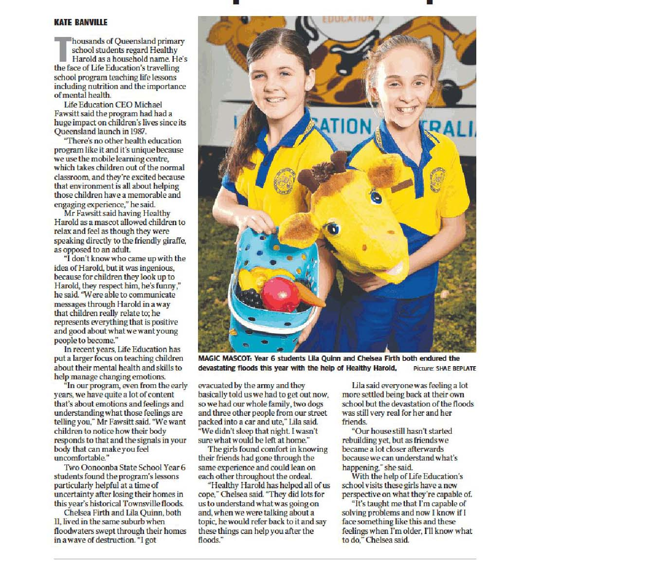 Townsville Bulletin Healthy Harold Helped Kids Cope Mental Health Guide 19 July 2019