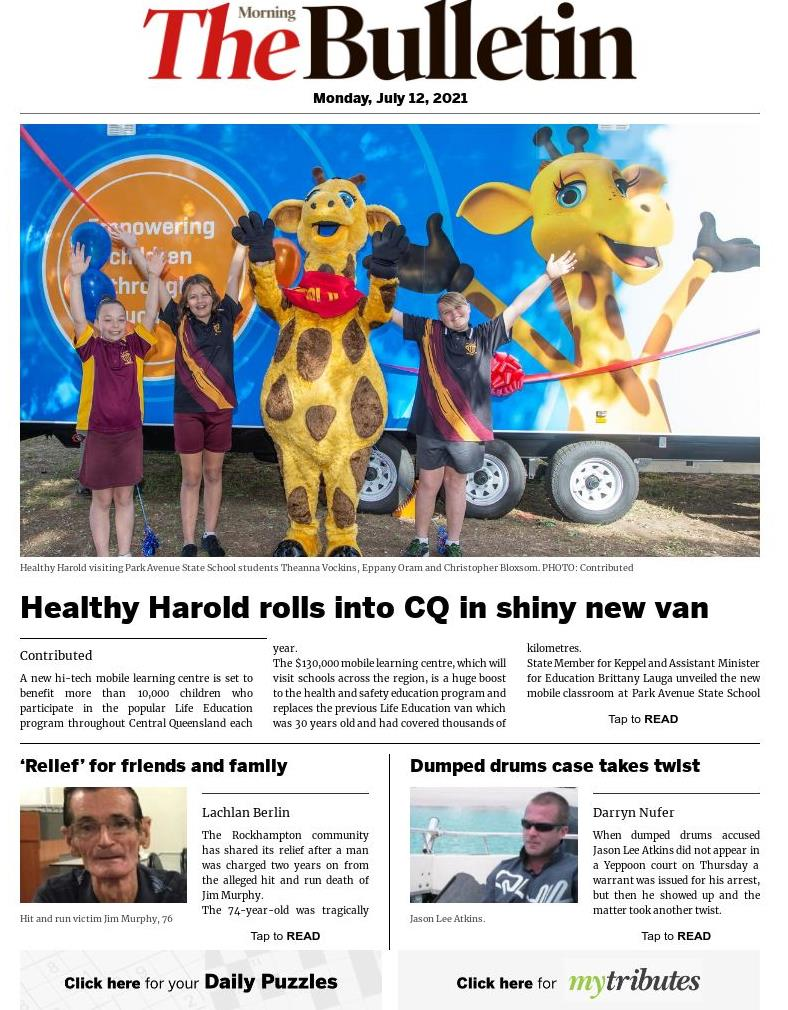 Life Education Qld Healthy Harold Morning Bulletin New Van