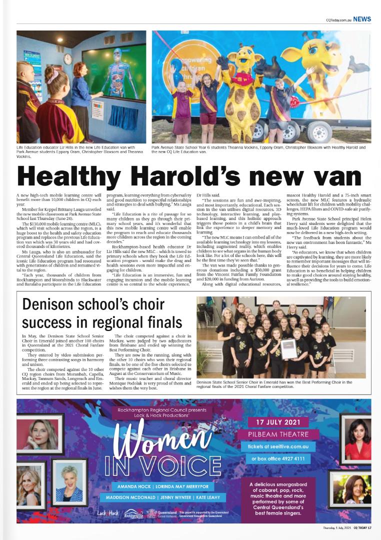 Life Education Queensland Central Healthy Harold Van New