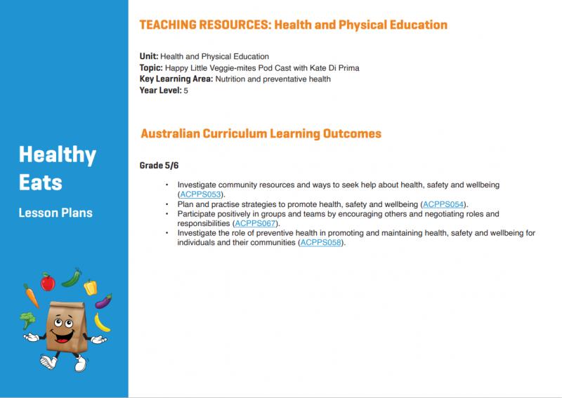Life Education Queensland Happy Little Veggie Mites Lesson Plans