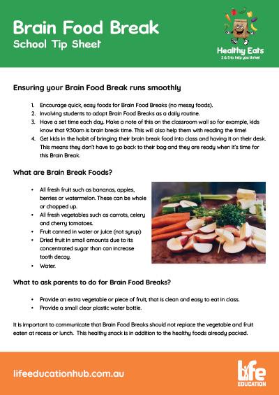 Life Education Queensland Healthy Eats Brain Food Break